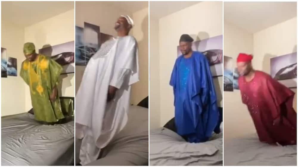Man wears 6 'Yoruba' agbada to make funny Tik Tok video, stirs reactions
