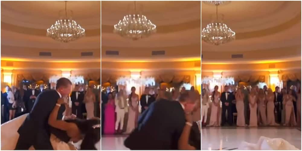 The couple fell during their first dance