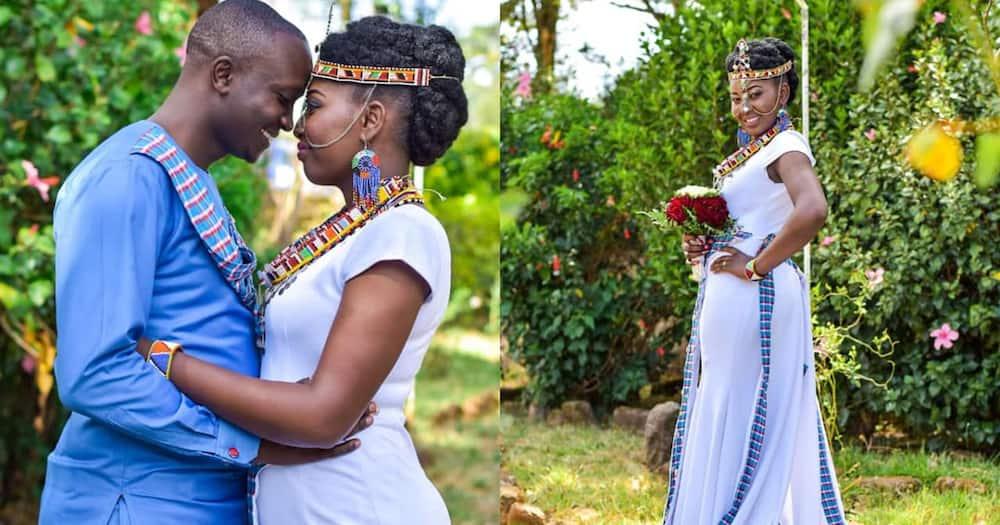 Maasai-Kikuyu Couple Stun in Beautiful Traditional Attire During Their Wedding