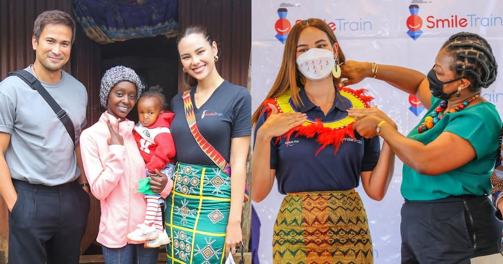 Samuel Milby, Anastacia and daughter with Catriona Gray(l) and Catriona Gray with Nkeriuka Obi (r).