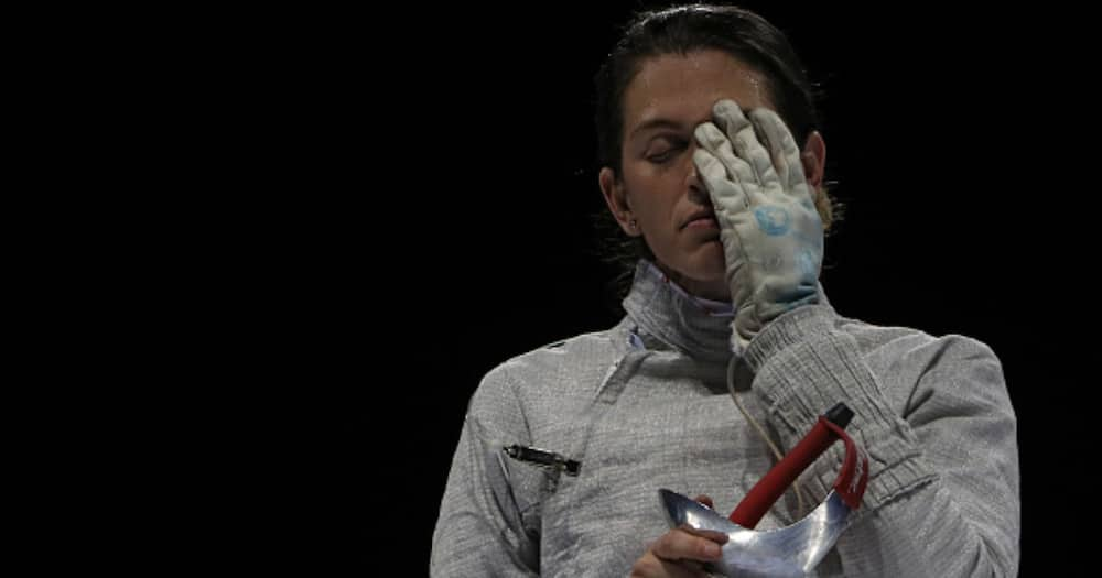 Maria Belen Perez Maurice reacts against Alejandra Jhona Benitez Romero of Venezuela (not pictured) as they compete in the Women's Sabre Individual on Day 11 of Lima 2019 Pan American Games. (Photo by Patrick Smith/Getty Images)