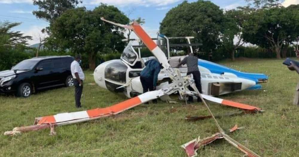 Raila Odinga's chopper crashed in Gem Constituency on Sunday, May 30. Photo: Raila Odinga.