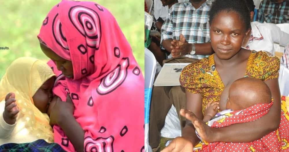 Mothers breastfeeding their children