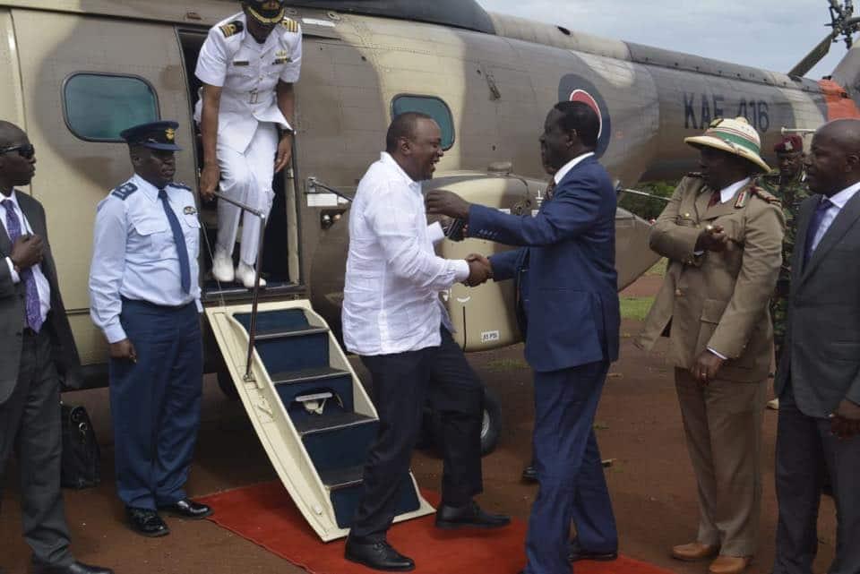 Uhuru afika nyumbani kwa Raila kwa mara ya kwanza tangu awe Rais