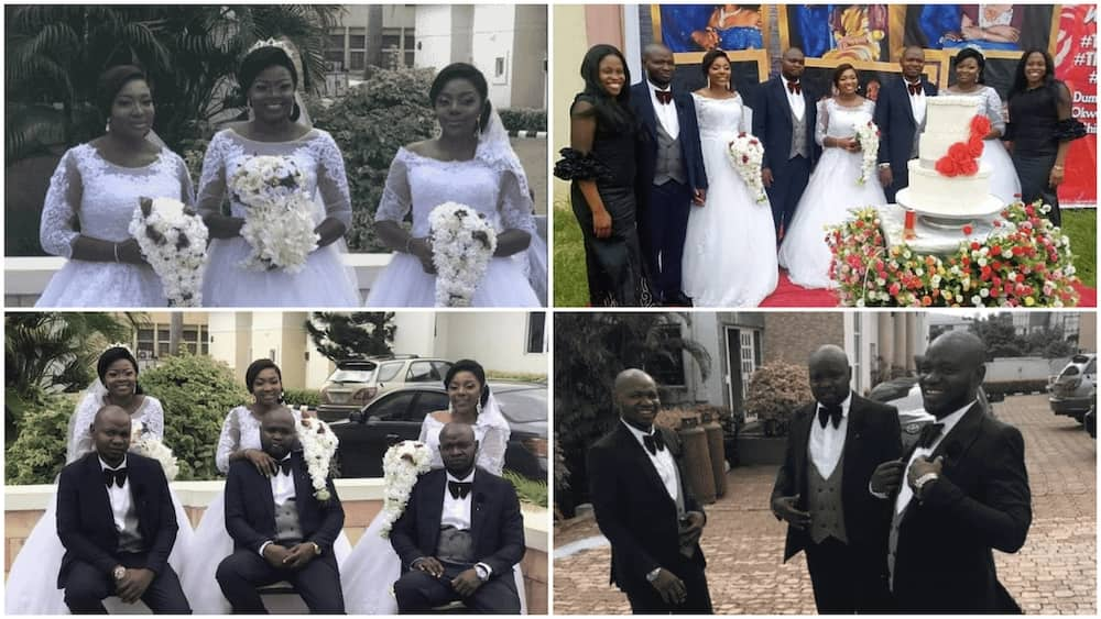 A collage of the triplets brothers and sisters on their wedding day. Photos source: Gistreel
