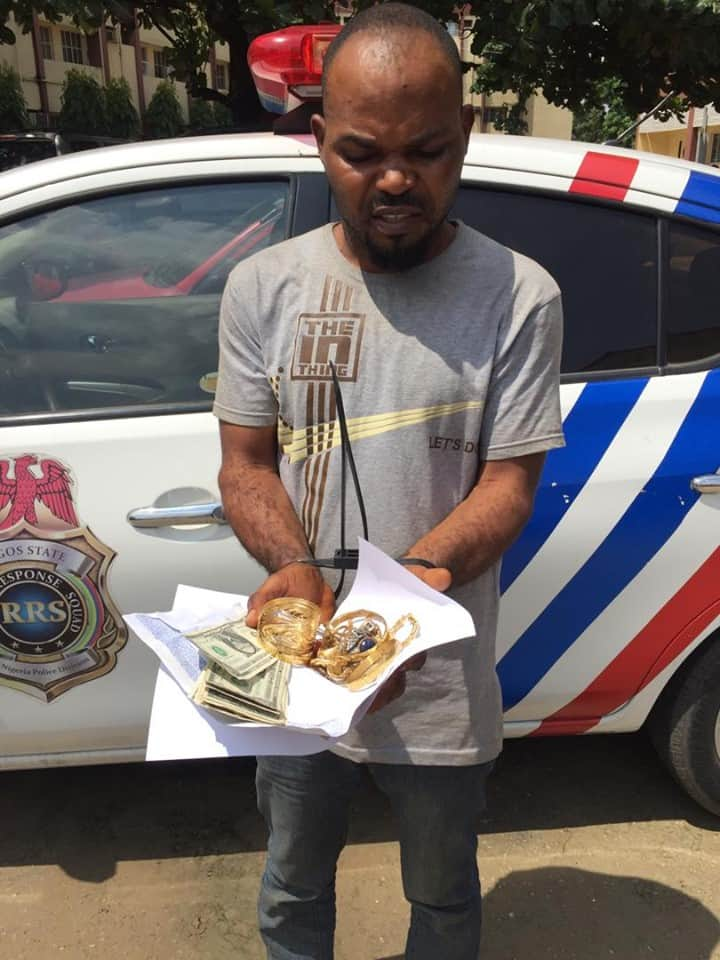 Francis Okputu and the stolen items after he was caught by RRS. Photo source: RRS