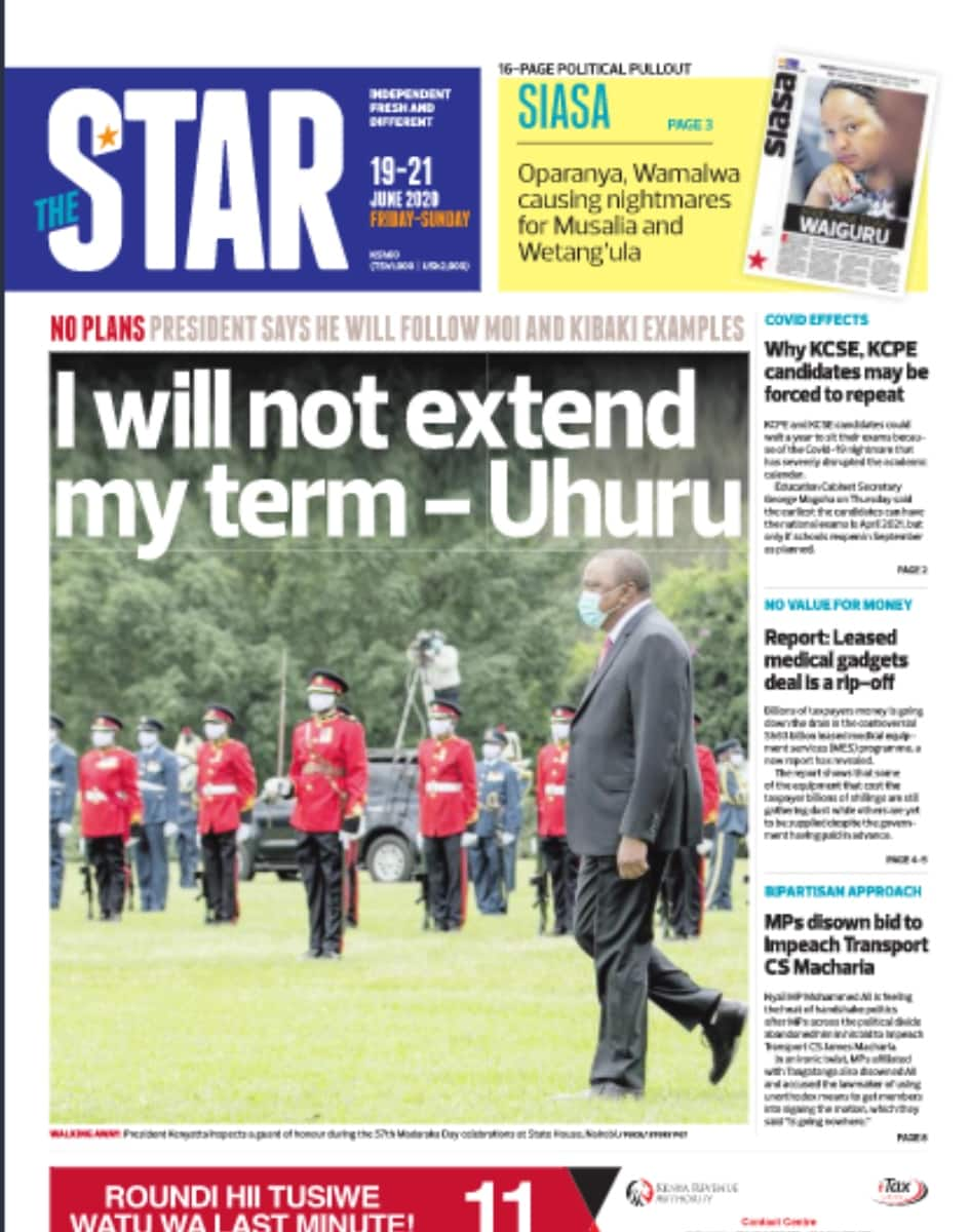 Kenyan newspapers review for June 19: Gloves off as William Ruto opens parallel Jubilee Asili office