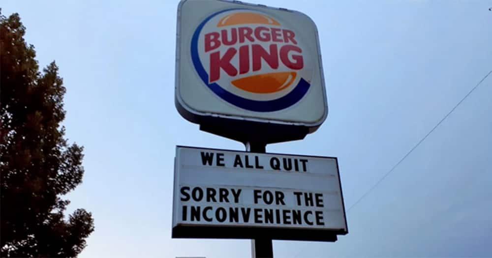 Burger King employees quit.