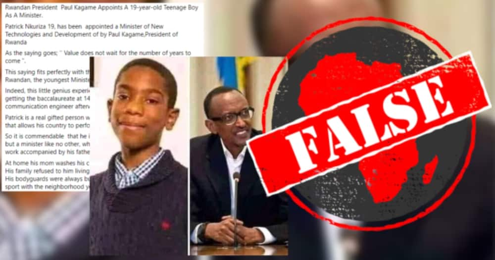 Fact check: President Paul Kagame has not appointed 19-year-old as minister