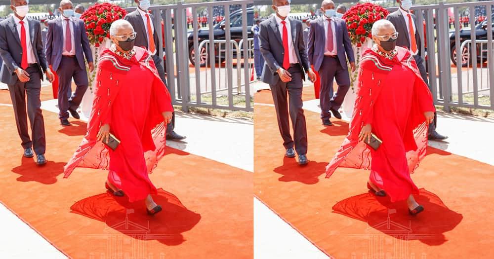 Margaret Kenyatta Stuns in Red Maasai-Themed Dress at Madaraka Day Celebrations