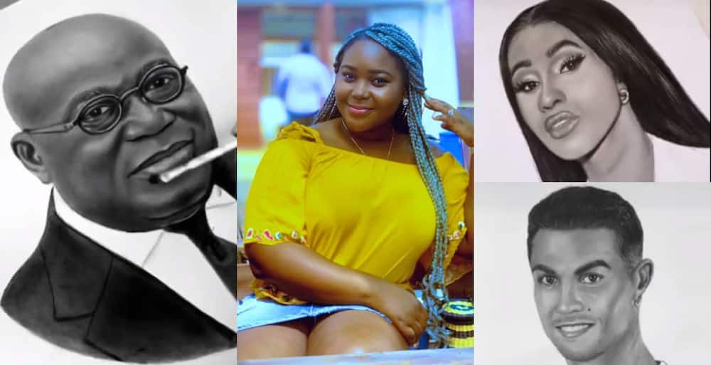 Talented Ghanaian lady draws 16 world icons in 10 days using a pencil. Photo credit: @aewura_art.