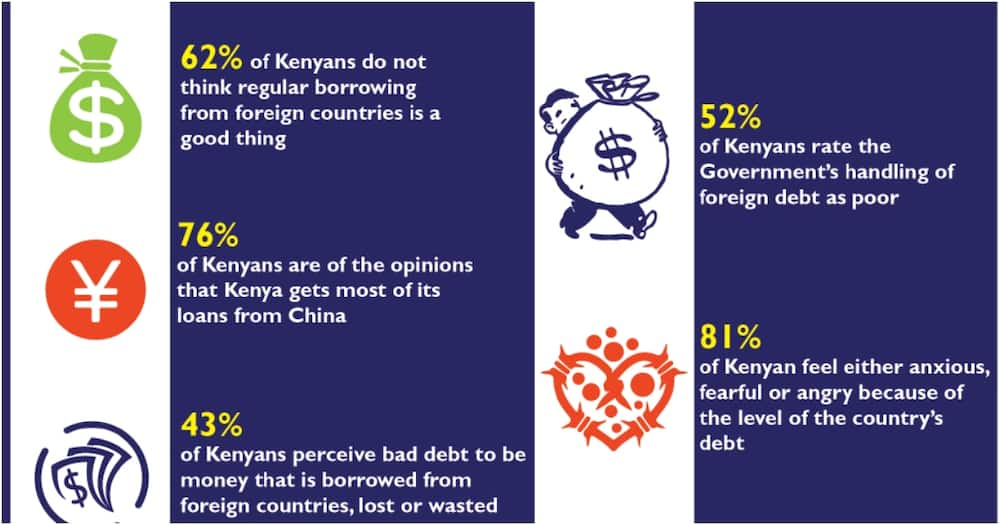 Fifty-two percent of the respondents were of the opinion that the government's handling of foreign debt was poor. Photo: Infotrak.