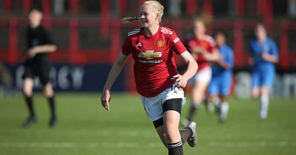 Karna Solskjaer of Manchester United Women U21's in action during the match between Manchester United Women U21's and Stockport County Ladies FC at Moss Lane on September 13, 2020 in Altrincham, England. (Photo by James Gill - Danehouse/Getty Images)