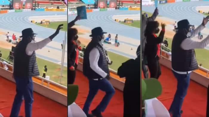 Video of Raila Limbering Vigorously as He Celebrates Kenyan Athletes at Kasarani Excites Netizens