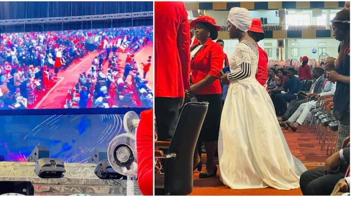 Lady Who Returned From England Dresses in Wedding Gown to Church with Hopes of Getting Husband