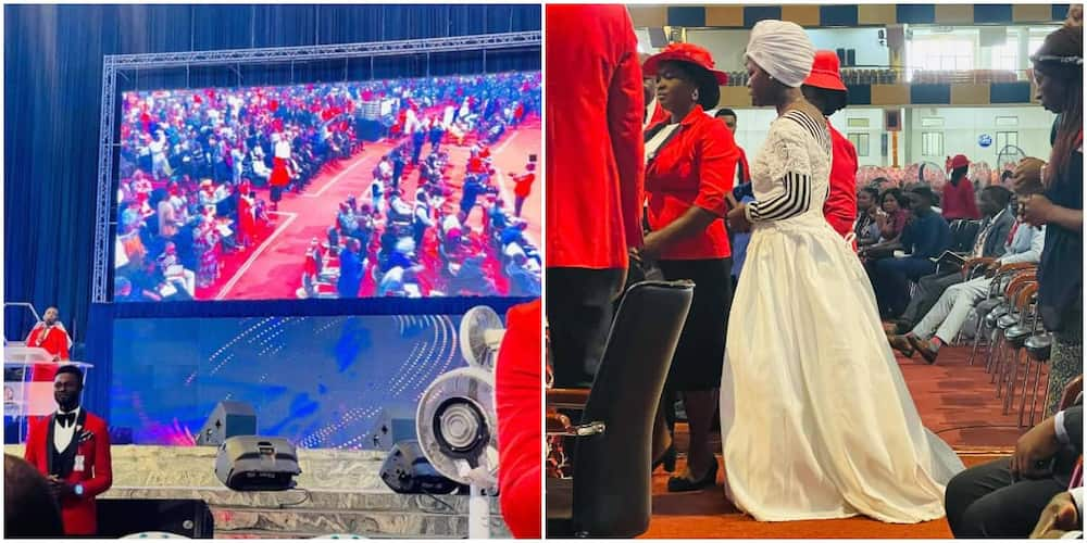 Reactions as lady who returned from UK shows up at Nigerian church dressed in a wedding gown.
