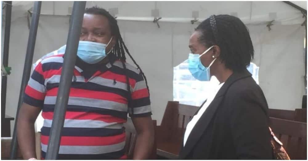 Edwin Kiama with his lawyer, Senior Counsel Martha Karua, at the Milimani Law Courts on Wednesday, April 7, 2021. Photo: Standard.