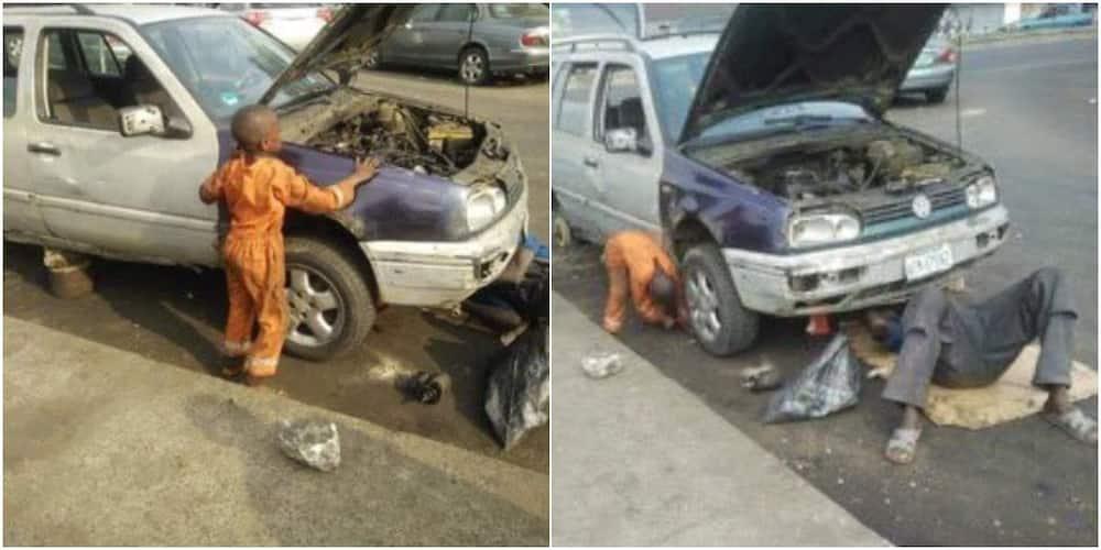 Social media users react as photos of 6-year-old mechanic boy go viral