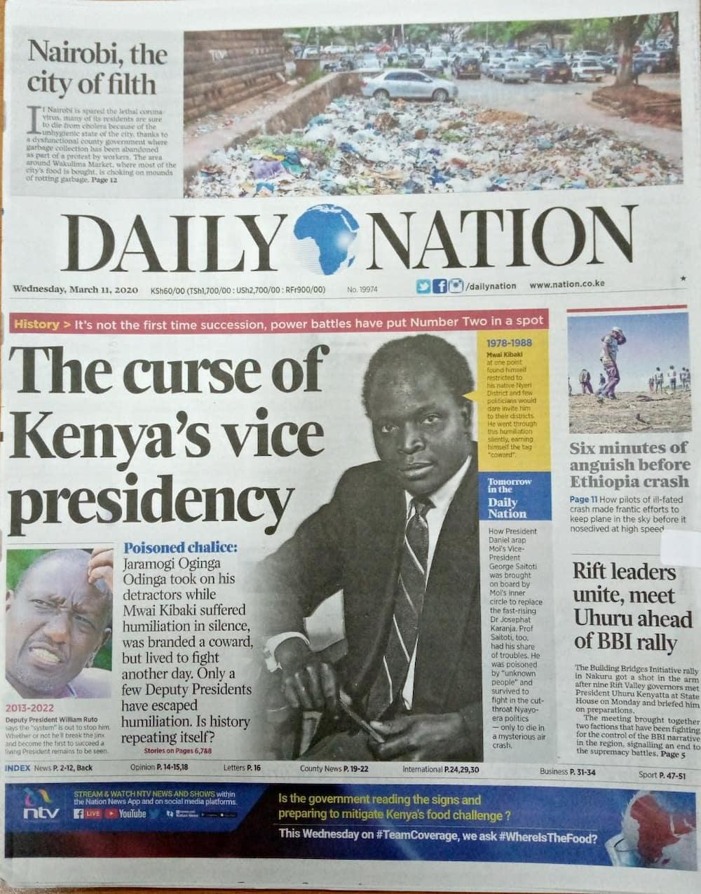 Magazeti ya Kenya, Jumatano, Machi 11