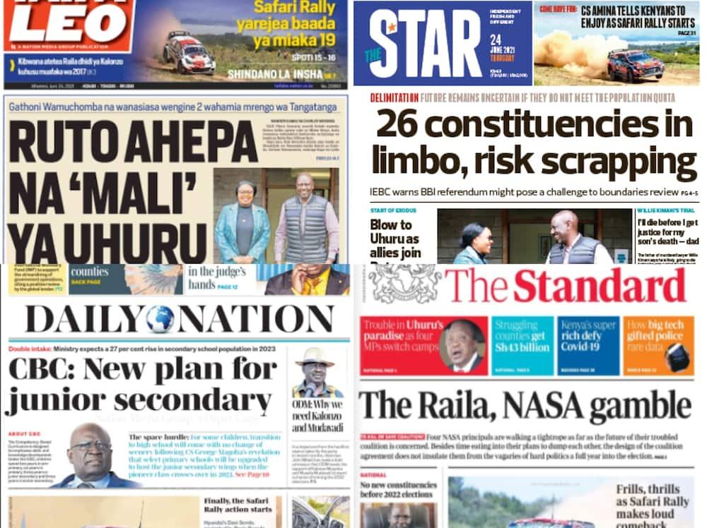 Magazeti Alhamisi, Juni 24: Wanafunzi wa Musingi Kuwaalka wa Sekondari CBC