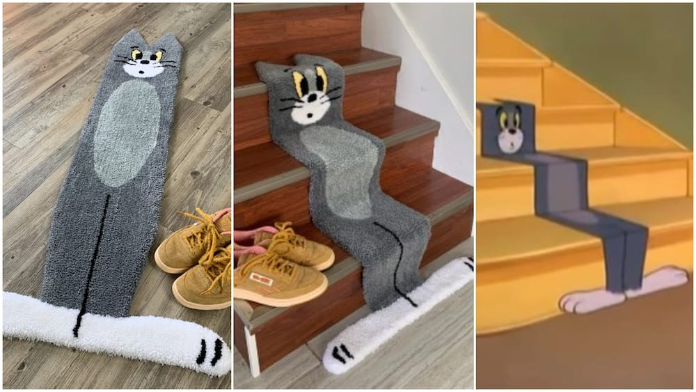 Man makes rug that looks like cartoon character from Tom & Jerry series, photos stir reactions