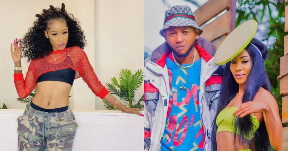 Rapper Noti Flow flaunts her flawless figure (l), Noti and her ex-lover Mustafa when they were still dating.