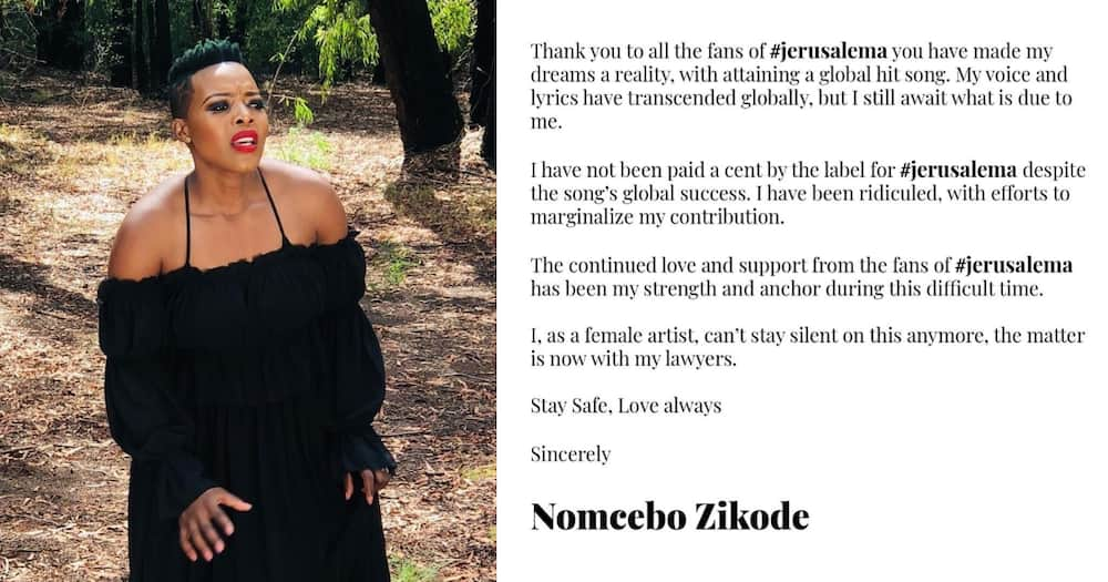 Nomcebo Zikode revealed that she is in touch with her lawyer to follow up on her payments.
