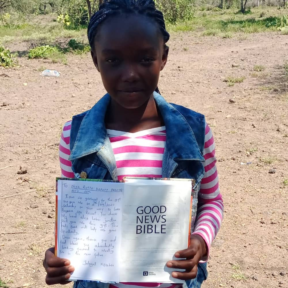 Baringo girl writes moving message to William Ruto's son Nick after receiving bible gift