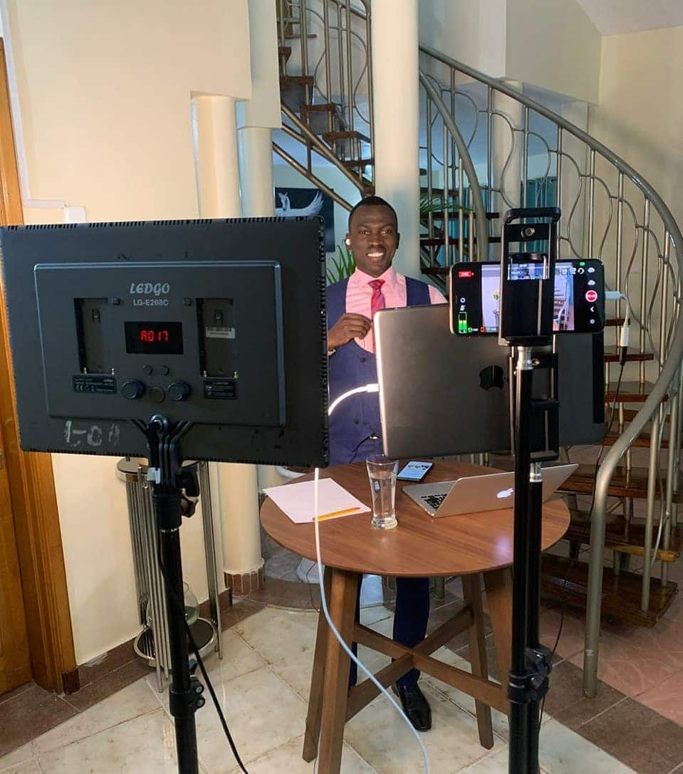 News achor Trevor Ombija shows off his exquisite house while anchoring news from home