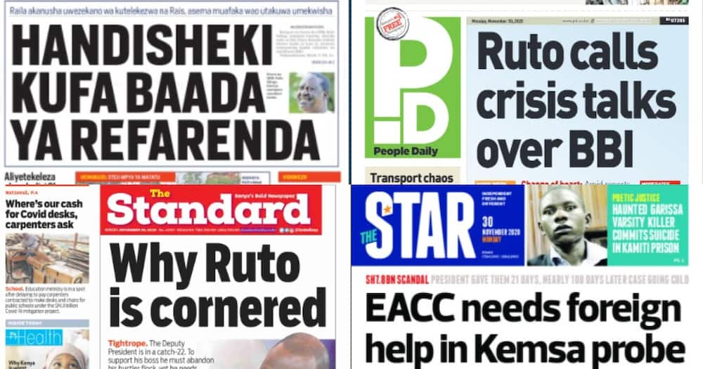 Kenyan newspapers review for November 30: William Ruto convenes BBI crisis meeting as allies split into two camps