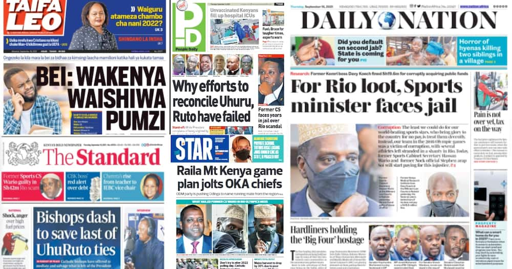 Kenyan newspapers. Photo: Screengrabs from The Standard, Daily Nation, The Star, People Daily and Taifa Leo.