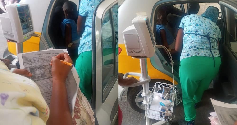 Ghanaian man gets attended to in taxi over lack of bed after being rushed hospital