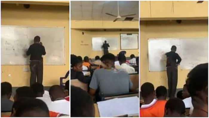 Netizens Cracked as Lecturer Gets Stuck on The Board While Solving Physics Question in Viral Video