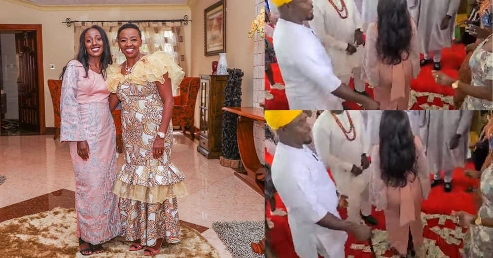 Video of June Ruto, Nigerian hubby dancing while guests spray them with cash emerges