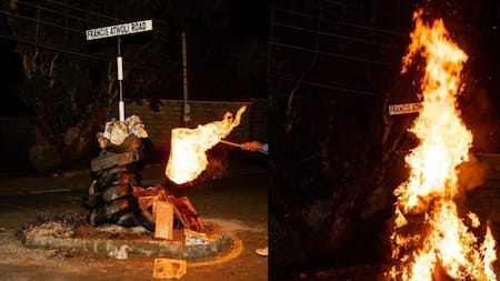 Kileleshwa: COTU Boss Francis Atwoli's Road Signpost Burnt Down by Unknown People