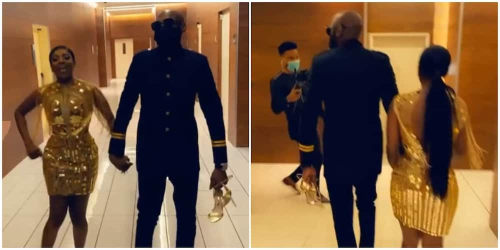 Adorable video of 2baba holding Annie Idibia shoes at the Headies award, Nigerians react