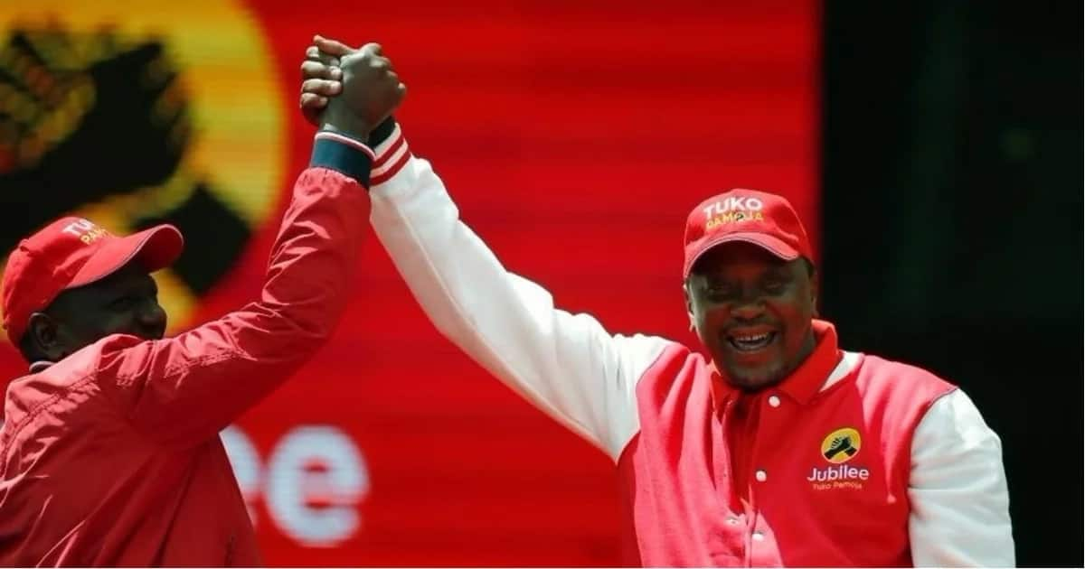 President Uhuru Kenyatta and his deputy William Ruto during one of the political rallies.