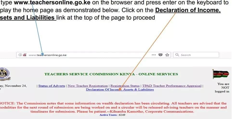 TSC Wealth Declaration form online filling