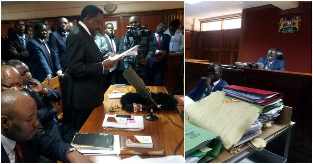 Miguna Miguna's lawyers at Milimani Law Courts, Naireobi