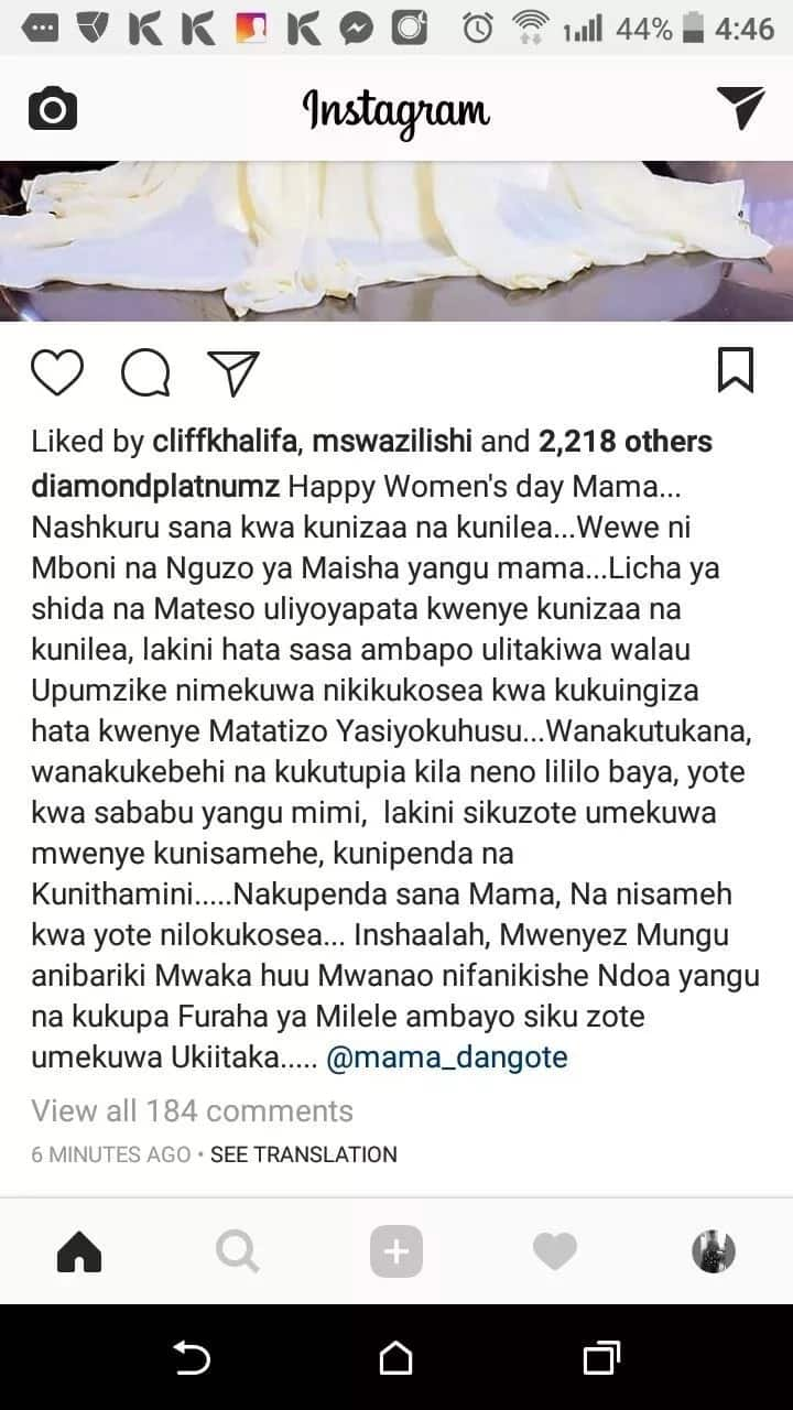 Nitaoa mwaka huu, utakuwa na furaha- Diamond Platinumz amwambia mamaye