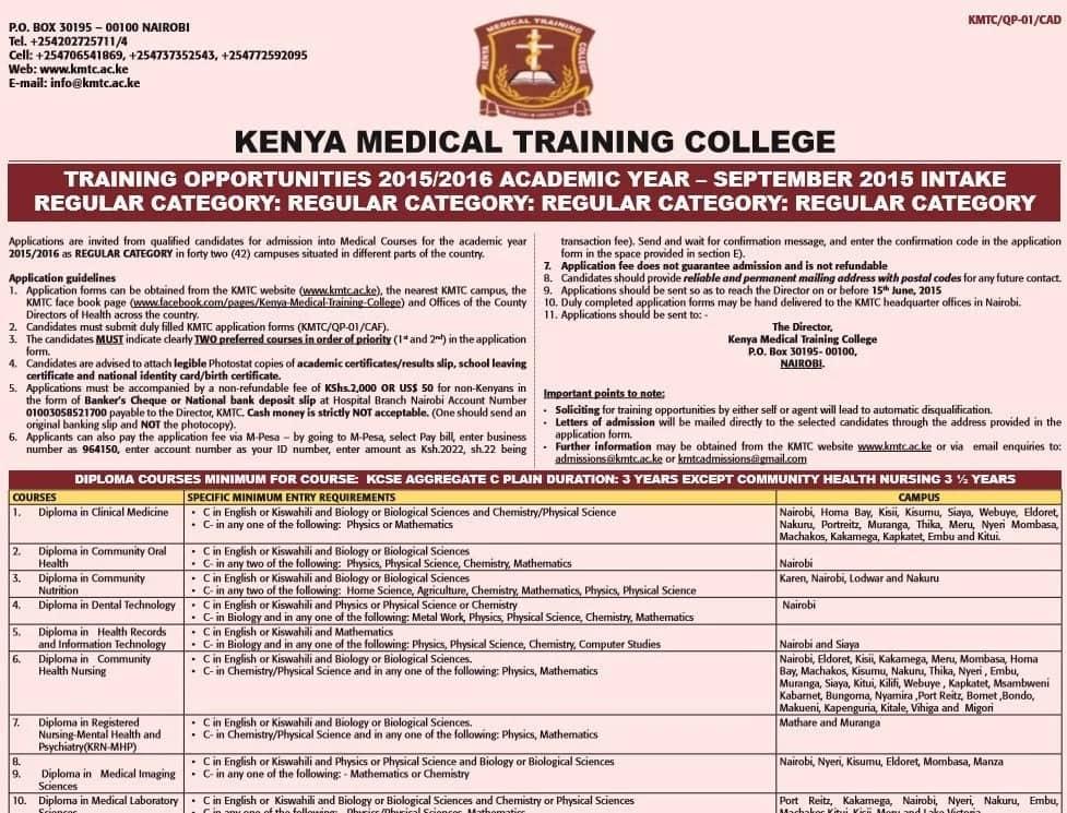 KMTC shortlisted candidates 2018-2019