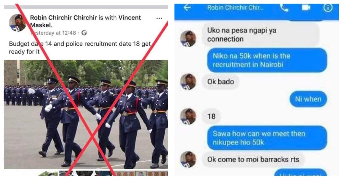 Police expose fake KDF officer demanding bribes online for recruitment