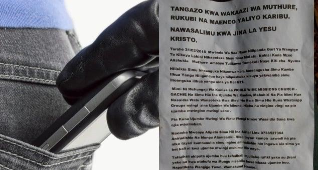 Mhubiri kutoka Kiambu amuomba mwizi aliyeiba simu yake kumrejeshea