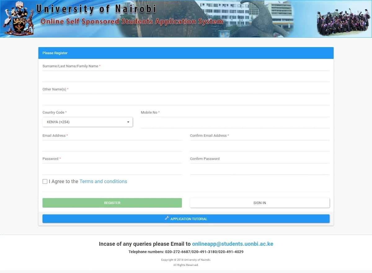 University of Nairobi website