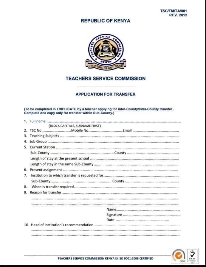 TSC transfer form and process TSC transfer form and process TSC teacher transfer TSC kenya transfer TSC transfer application form