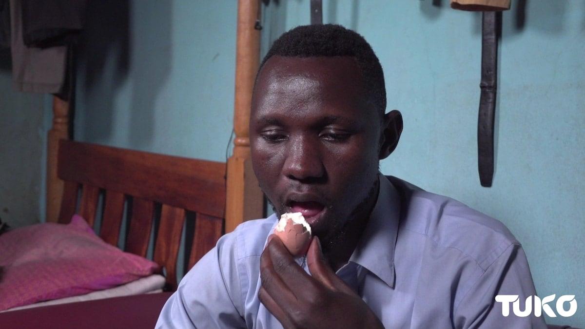 Meet Kenyan man who eats ugali and egg shells like nobody's business