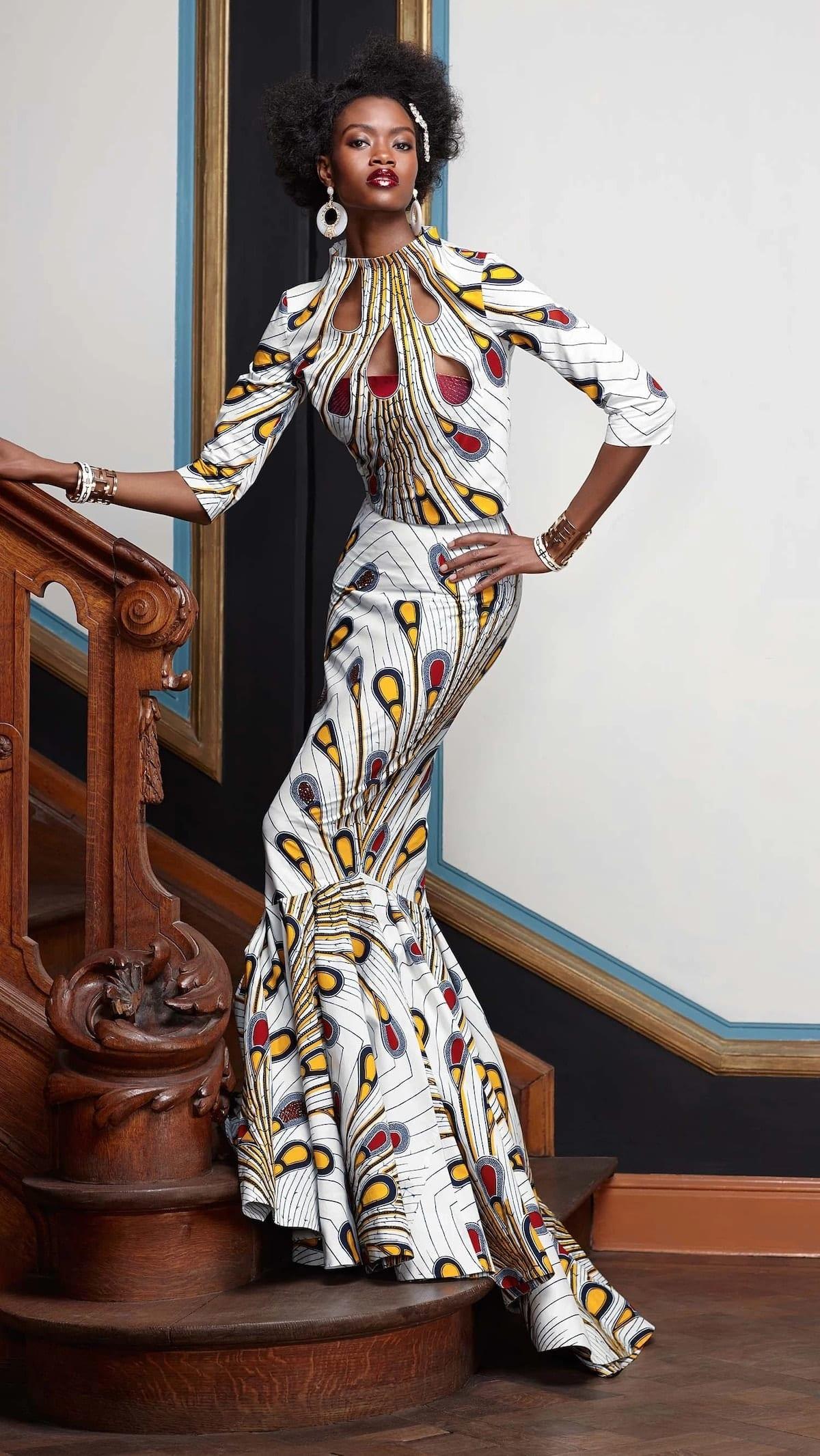 african print elegant dresses, african print skirts and dresses, african print and chiffon dresses