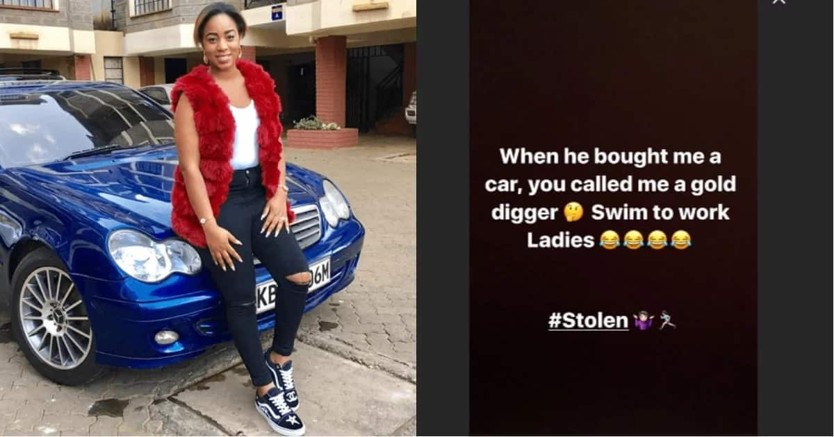 You called me a gold digger but he got me a car, now swim to work- Singer Bahati's wife