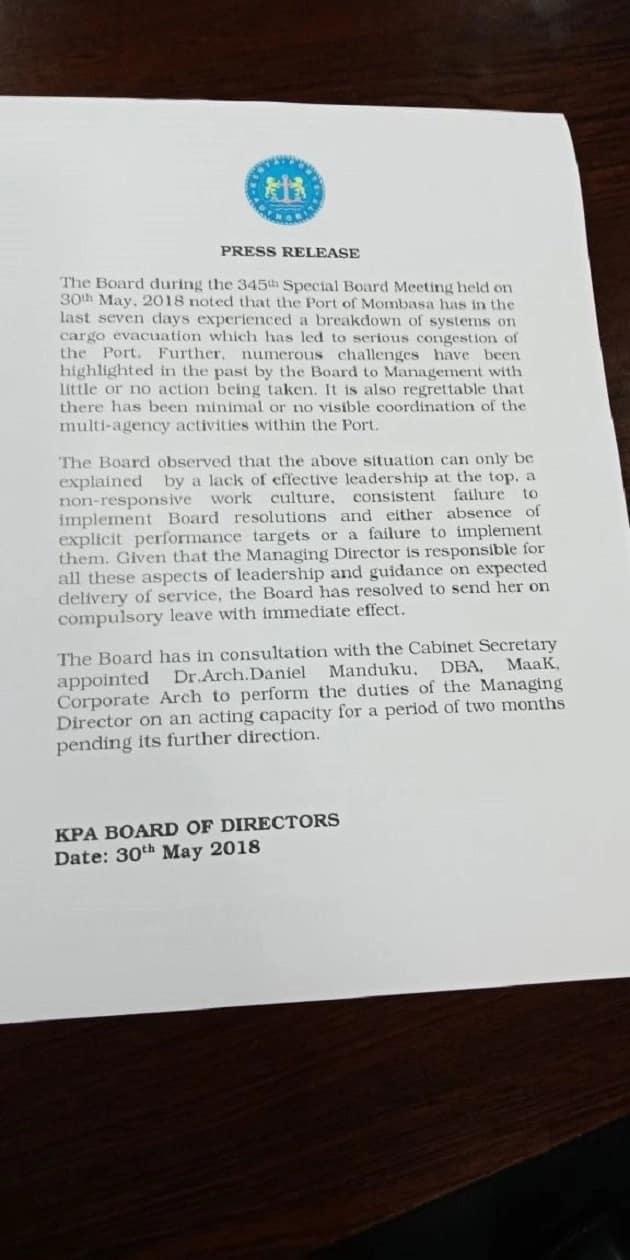 Mkurugenzi mkuu wa Bandari ya Mombasa Catherine Muturi atimuliwa afisini