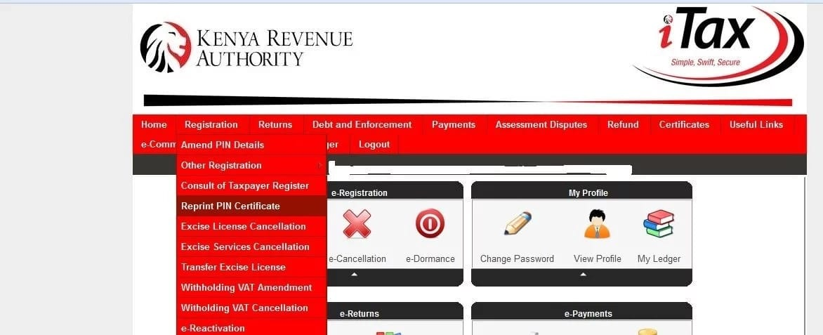 Reprinting certificate after successful KRA pin search using ID number in Kenya
